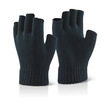 Fingerless Black Woolly Thermal Gloves