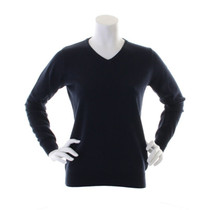Kustom Kit Ladies Long Sleeve Navy V Neck Jumper