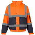 Hi Vis Two Tone Bomber Jacket (Orange/Navy)