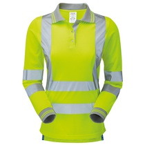PULSAR® Hi Vis Yellow Ladies' Long Sleeve Polo Shirt